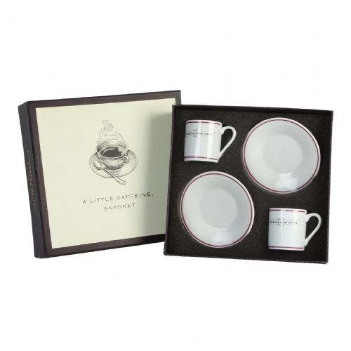 Gentleman's Espresso Gift Set - set of 2 Espresso Cups and Saucers